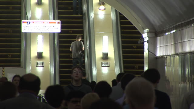 July 2 2009 WS Passengers boarding the subway train / Moscow Russia