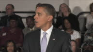 July 2 2009 MS President Obama giving speech at townhall meeting about the importance of reforming the US healthcare system / Annandale Virginia /...