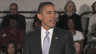 July 2 2009 MS President Obama speaking about the 'extraordinary times' the US finds itself in at healthcare reform townhall meeting / Annandale...