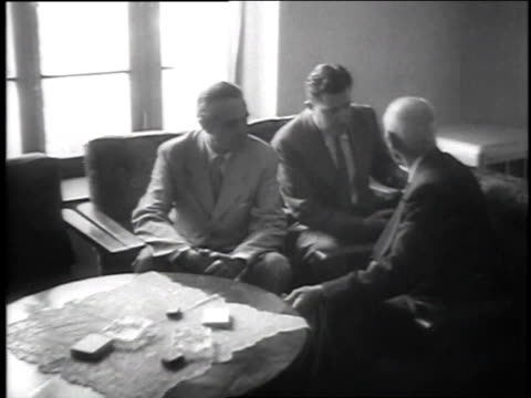 July 23 1951 MONTAGE Harriman and Prime Minister Mossadegh talking during oil dispute / Tehran Iran
