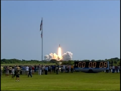 July 26 2005 long shot Space Shuttle Discovery taking off from launch pad / Edwards Air Force Base CA