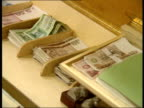 July In 1990 East Germany accepts the Deutschmark as its currency INT Deutschmarks in tray / Bank teller countiing them / People buying strawberries...