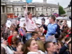 July LIB EXT Huge crowd of people celebrating London winning Olympic bid for 2012 games