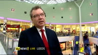 Jump in online sales saves retail figures from falling in December ENGLAND Leeds White Rose Shopping Centre INT Gerald Jennings LIVE interview SOT