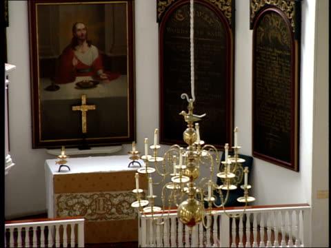 June 16 2003 HA Chandelier hanging in Old North Church in Boston / Boston Massachusetts United States