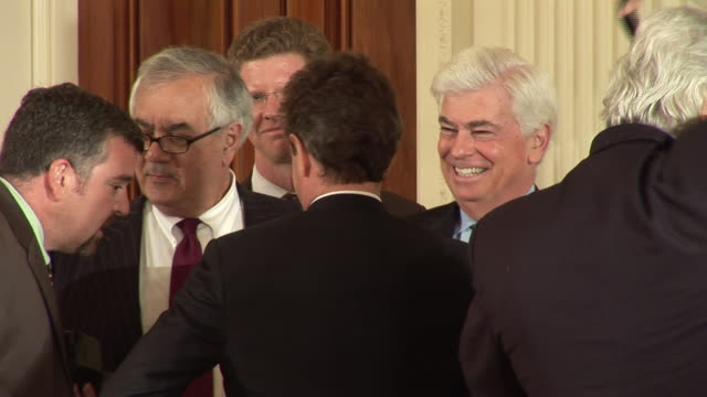 June 17 2009 MS Senator Chris Dodd Representative Barney Frank and Treasury Secretary Timothy Geithner and others talking in the East Room after...