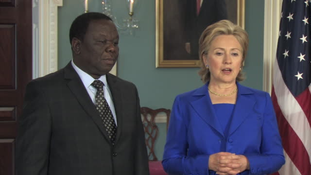 June 2009 WS ZI ZO PAN TU TD Hillary Clinton US Secretary of State welcoming Zimbabwean Prime Minister Morgan Tsvangirai at the US State department...