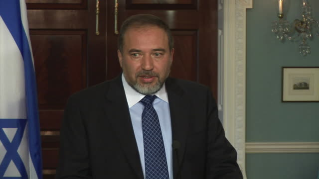 June 2009 MS Israeli Foreign Minister Avigdor Lieberman talking about Jewish settlements in the West Bank at press conference at the State Department...