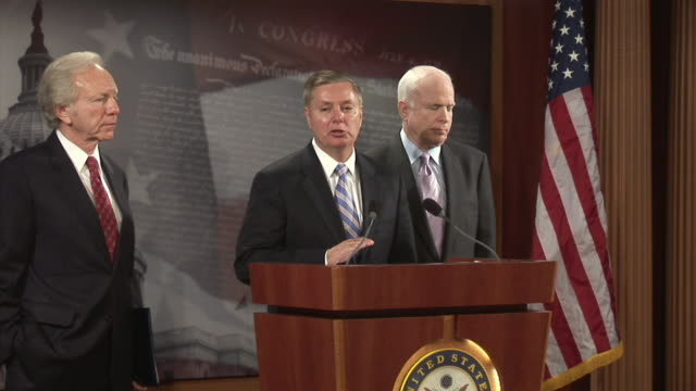 June 2009 MS Senators Lindsay Graham John McCain and Joseph Lieberman criticising the Obama administration's policy on the postelection unrest in...