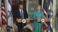 June 2009 MS US Secretary of State Hillary Clinton and Israeli Foreign Minister Avigdor Lieberman holding press conference at the State Department /...