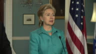 June 2009 MS US Secretary of State Hillary Clinton discussing efforts for peace settlement in IsraelPalestine in press conference at the State...