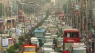An aerial view of vehicles stuck in gridlock kazi nazrul islam avenue road area in Dhaka Bangladesh Commuters in the capital suffered a lot as they...