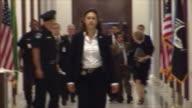 June 3 2009 US Supreme Court justice nominee Judge Sonia Sotomayor walking down hallway in Senate office building in Washington DC / AUDIO