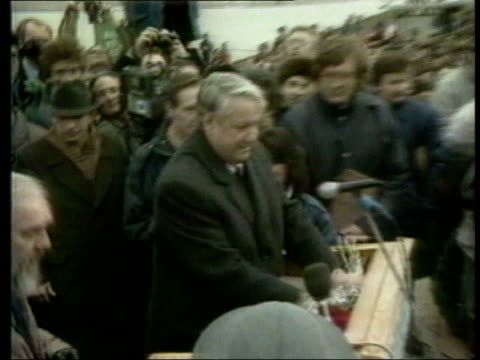 June In 1991 Boris Yeltsin won the first Russian elections Moscow Boris Yeltsin along through crowds of people to microphone / Russian Federation...