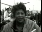 June In 1996 Ella Fitzgerald died Ella Fitzgerald at London Airport LIB INT Ella Fitzgerald interview about song that brought her fame 'A Tisket A...