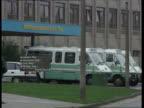 Junior doctor death CF ENGLAND Warrington MS SIDE Row of ambulances outside Warrington Hospital