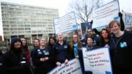 A Junior Doctors NHS choir sing and protest outside St Thomas's Hospital on February 10 in London England Junior Doctors across the United Kingdom...