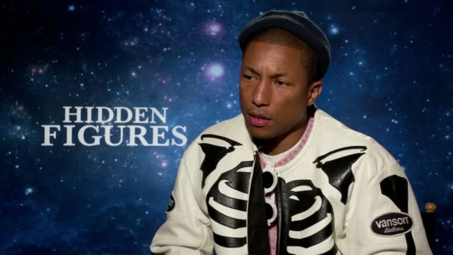 Junket interviews for the film Hidden Figures with actor Kevin Costner composer and producer Pharrell Williams director Theodore Melfi and a group...