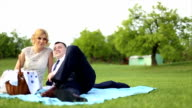 Just married couple on a picnic