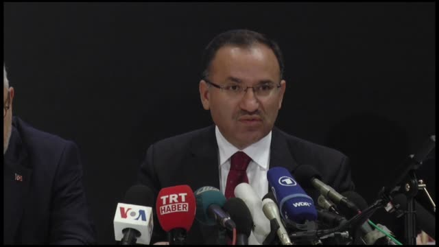 Justice Minister of Turkey Bekir Bozdag holds a press conference after the meeting with US Attorney General Loretta Lynch the day before to discuss...
