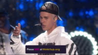 PERFORMANCE Justin Bieber performs at the Entertainment Industry Foundation's Education Initiative 'Think It Up' at Barkar Hangar on September 11...