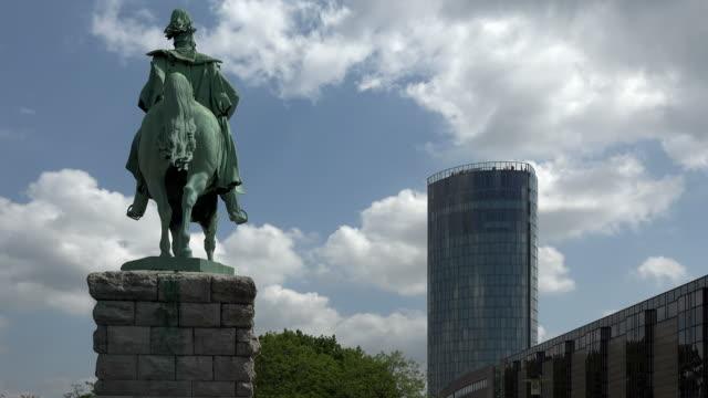 Kaiser Wilhelm I. Monument and Koeln Triangle Tower, Cologne, North Rhine Westphalia, Germany