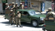 Kalam Army facility town and country general views Islamabad security checks and market gvs Burnt out electicity power station / Pakistan troops on...