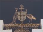 Kangaroo and an Emu of Australian crest atop Australian Parliament building Canberra