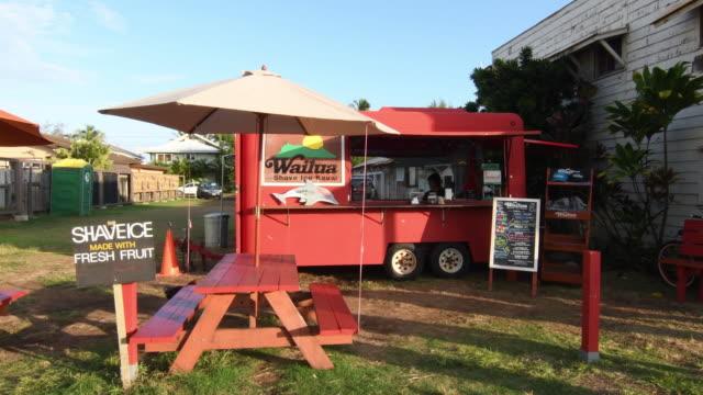 Kapaa Kauai Hawaii downtown village Wailua Shave Ice store red local restaurant hangout, 4K