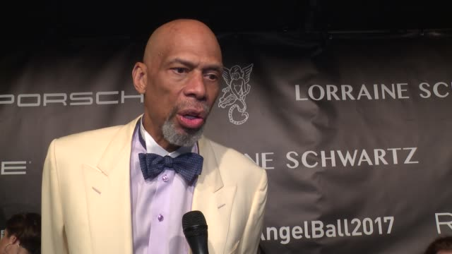 INTERVIEW = Kareem AbdulJabbar talks about the importance of cancer research and his own bout with cancer at Angel Ball 2017 at Cipriani Wall Street...