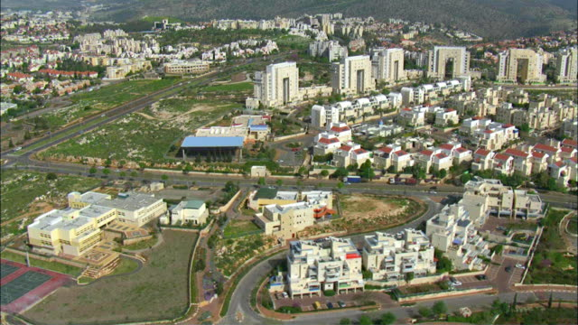 AERIAL Karmiel, city located in Beit HaKerem Valley dividing upper and lower Galilee / Galilee, Israel