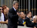 Kate and Gerry McCann meet with Pope Benedict XVI McCanns listening to pope then making sign of the cross / McCanns along