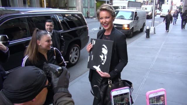 Katherine Heigl arrives at SiriusXM Satellite Radio for the Howard Stern Show Celebrity Sightings on April 20 2016 in New York City New York