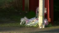 16 year old girl admits to killing January 2017 EXT Flowers beside lamppost Police van along from scene