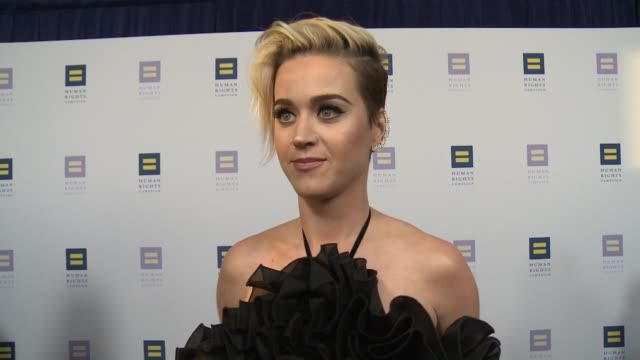 INTERVIEW Katy Perry on the event at The Human Rights Campaign 2017 Los Angeles Gala Dinner in Los Angeles CA