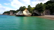 Kayaking, cavern, Cathedral Cove, cliffs, beach, rocks, sea, Coromandel,
