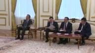 Kazakhstan's President Nursultan Nazarbayev meets with Turkmenistan's President Gurbanguly Berdimuhamedow in Astana Kazakhstan on April 18 2017