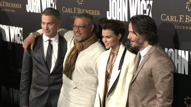 Keanu Reeves Laurence Fishburne Ruby Rose and Chad Stahelski at the 'John Wick Chapter 2' US Premiere at ArcLight Hollywood on January 30 2017 in...