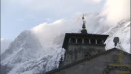 Kedarnath temple against mountains, India Available in HD.