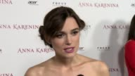 Keira Knightley on reading Anna Karenina and the character on the way Joe Wright directed the movie and working with Joe at Anna Karenina Premiere...