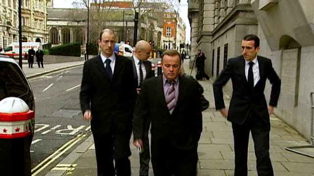 Nicholas Jacobs found not guilty ENGLAND London Old Bailey EXT Elizabeth Johnson and sons Lee Blakelock Kevin Blakelock and Mark Blakelock arriving...