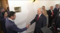 Kemal Kilicdaroglu chairman of Turkey's opposition Republican People's Party meets with Peoples' Democratic Party leaders Selahattin Demirtas and...