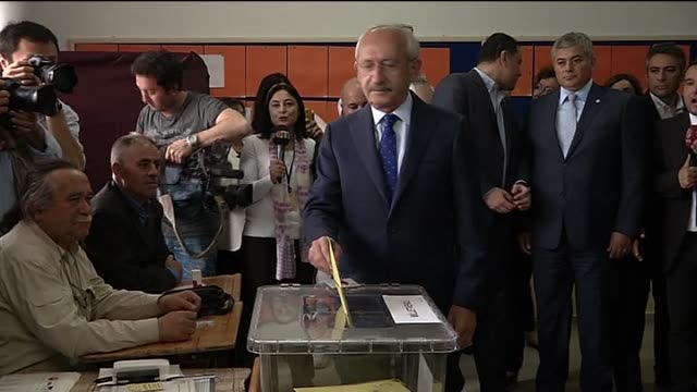 Kemal Kilicdaroglu leader of Turkey's main opposition Republican Peoples' Party casts his ballot in the Turkish general election at a polling station...