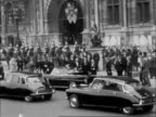 Kennedy's second day in Paris FRANCE Paris 11 secs blank Elysee Palace Kennedy gets out of car and is greeted Guards outside Palace Kennedy out of...