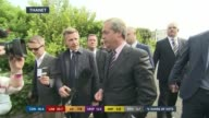 SPECIAL 0925 1015 Kent South Thanet **BEWARE Nigel Farage MEP along through press as arriving for constituency count and speaking to press SOT