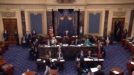Kentucky Senator Mitch McConnell moves to proceed to consideration of the American Health Care Act under budget reconciliation procedures protesters...