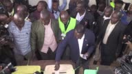 Kenyan opposition leader Raila Odinga votes in general elections with a tight bad tempered race between President Uhuru Kenyatta and his longtime...