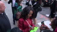Kerry Washington cast members of Scandal sign for and pose with fans outside Good Morning America in New York NY on 5/14/13