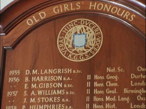 Kesteven Grantham Girls School attended by Margaret Thatcher her maiden name Margaret Roberts appears on board