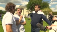 INTERVIEW Kevin Bishop Bradley Walsh Robbie Williams on watching the other team train at Soccer Aid Training on June 05 2014 in London England